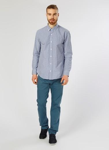 Cotton Bar Kareli Uzun Kollu Gömlek Mavi